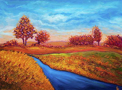 Painting - Golden Autumn Landscape by Lilia D