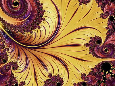Digital Art - Golden Autumn Leaf Abstract by Georgiana Romanovna
