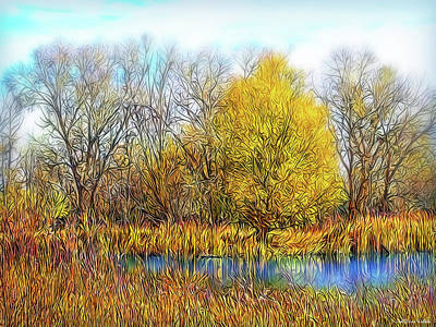 Digital Art - Golden Autumn Reflections by Joel Bruce Wallach