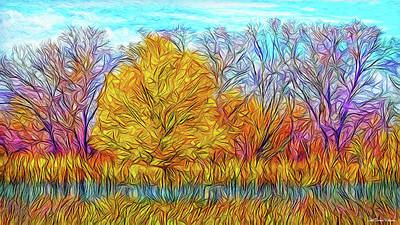 Digital Art - Golden Autumn Streaming by Joel Bruce Wallach
