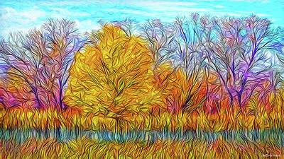 Digital Art - Golden Autumn Streaming by Joel Bruce Wallach