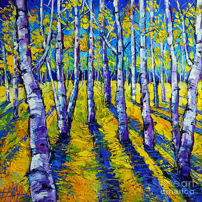 Pathways Painting - Golden Autumn Symphony by Mona Edulesco