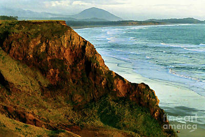 Painting - Golden Beach Cliff Side  Painterly by Peter Piatt