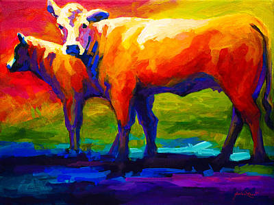 Cattle Painting - Golden Beauty - Cow And Calf by Marion Rose