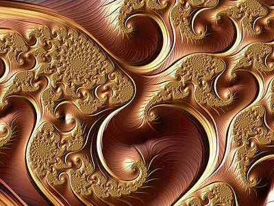 Digital Art - Golden Bliss Abstract by Georgiana Romanovna