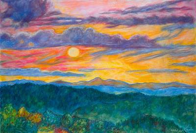 Art Print featuring the painting Golden Blue Ridge Sunset by Kendall Kessler