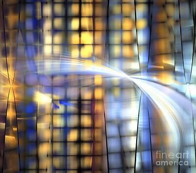 Digital Art - Golden Blue Rocks by Kim Sy Ok