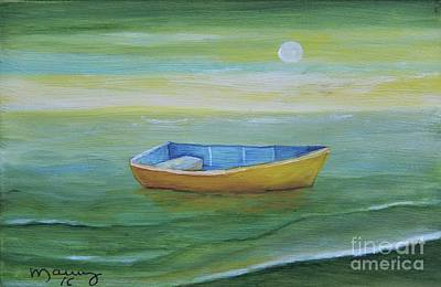 Painting - Golden Boat In The Green Lagoon by Alicia Maury