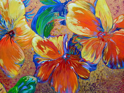 Painting - Golden Boiled Flowers by Gregory Merlin Brown