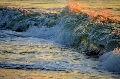 Undertow Photograph - Golden Breakers by Dianne Cowen