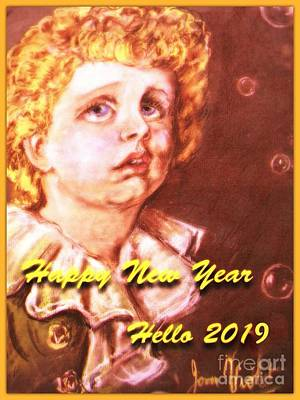 Photograph - Golden Bubbles  New Year Greeting 2 by Joan-Violet Stretch