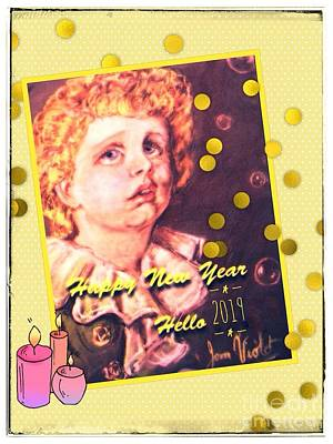 Mixed Media - Golden Bubbles New Year Greeting by Joan-Violet Stretch