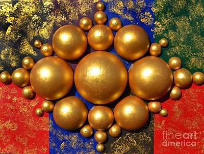 Mixed Media - Golden Bubbles by P Dwain Morris