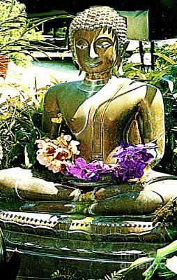 Photograph - Golden Buddha Holding Flowers by Merton Allen