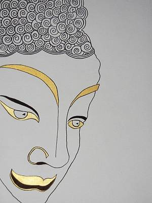 Drawing - Golden Buddha by Kruti Shah