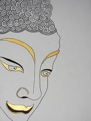 Drawing - Golden Buddha by Kruti Shah