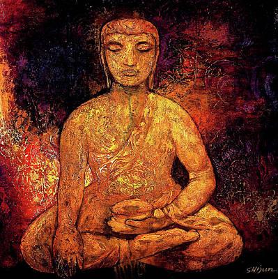 Golden Buddha Art Print by Shijun Munns