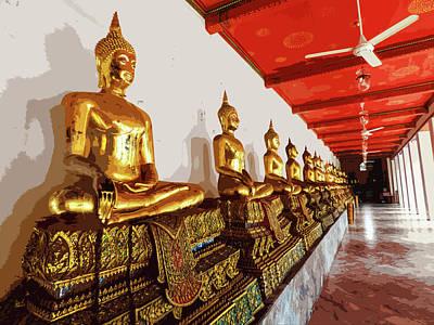 Digital Art - Golden Buddha Statues At Wat Pho by Helissa Grundemann