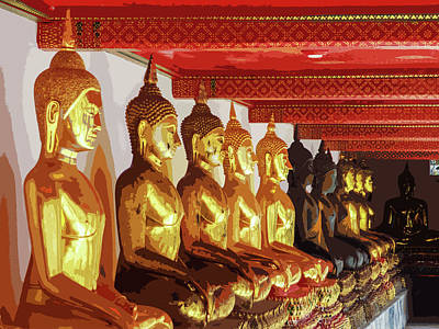 Digital Art - Golden Buddha Statues In A Row by Helissa Grundemann