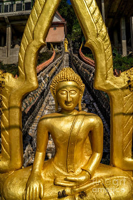 Golden Digital Art - Golden Buddhas by Adrian Evans