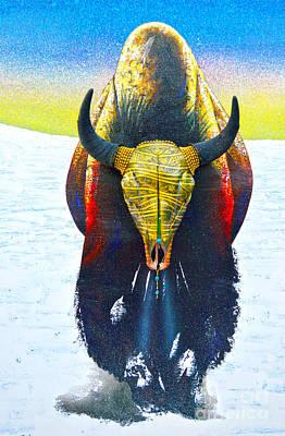 Buffalo Skull Painting - Golden Buffalo by Mayhem Mediums