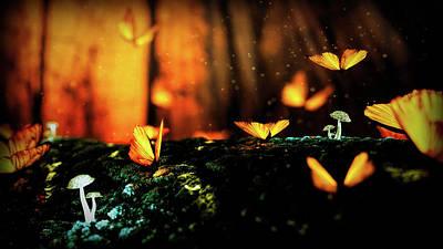 Mixed Media - Golden  Butterflies by Lilia D