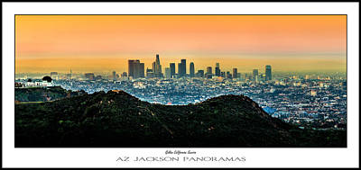 Los Angeles Skyline Photograph - Golden California Sunrise Poster Print by Az Jackson