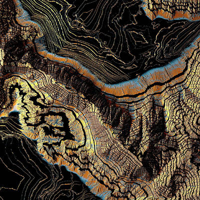 Topography Wall Art - Digital Art - Golden Canyons by Spacefrog Designs