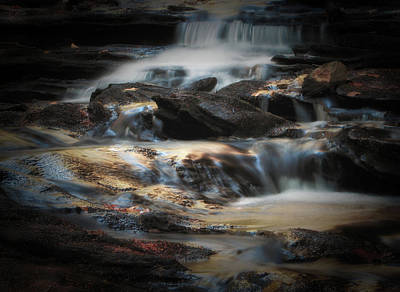 Photograph - Golden Cascade by GJ Blackman