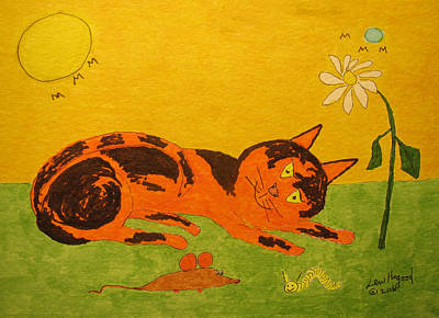 Painting - Golden Cat Reclining by Lew Hagood