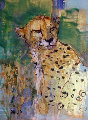 Encaustic Painting - Golden Cheetah by Michelle Philip