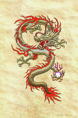 Digital Art - Golden Chinese Dragon Fucanglong On Rice Paper  by Serge Averbukh