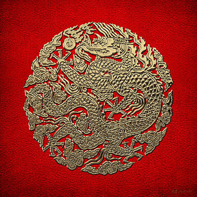 Digital Art - Golden Chinese Dragon On Red Leather by Serge Averbukh