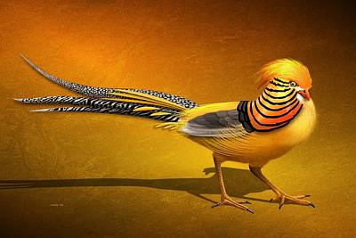 Digital Art - Golden Chinese Pheasant by John Wills