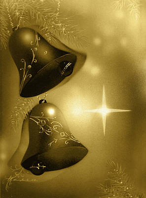 Golden Christmas Bells Art Print