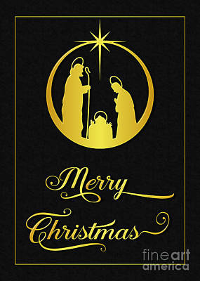 Digital Art - Golden Christmas Blessing by JH Designs