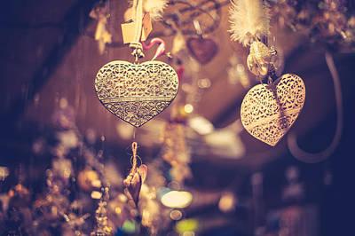 Photograph - Golden Christmas Hearts by Jenny Rainbow