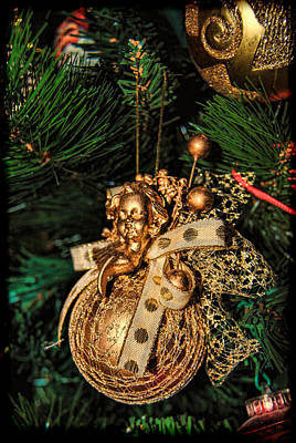 Photograph - Golden Christmas Ornament by Isam Awad