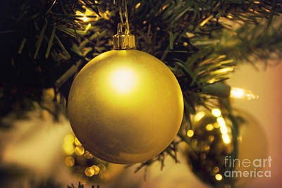 Photograph - Golden Christmas Ornaments by Cindy Garber Iverson