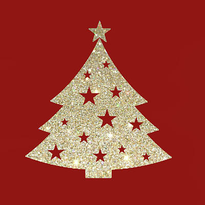 Golden Christmas Tree Art Print