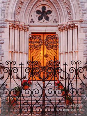 Sunlight On Pots Photograph - Golden Church Door by Lexa Harpell