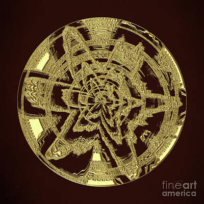 Digital Art - Golden Circle 1 by Gabriele Pomykaj