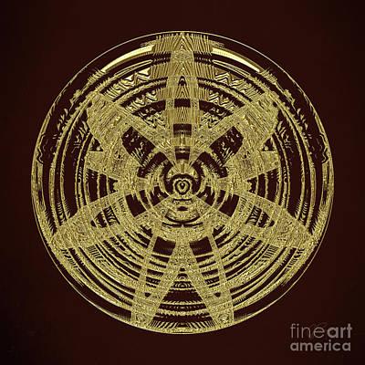 Digital Art - Golden Circle 3 by Gabriele Pomykaj