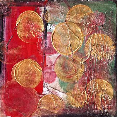 Painting - Golden Circles On Red And Green by Kristen Abrahamson