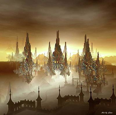 Overcast Mixed Media - Golden City by Lilia D