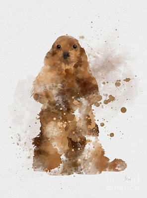 Prairie Dog Mixed Media - Golden Cocker Spaniel by Rebecca Jenkins