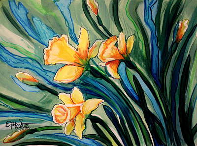 Painting - Golden Daffodils by Elizabeth Robinette Tyndall