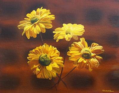 Painting - Golden Daisy Mums by Phil Chadwick