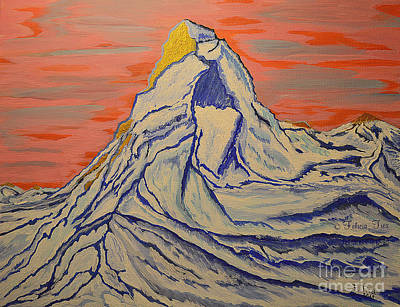 Painting - Golden Dawn On Matterhorn by Felicia Tica