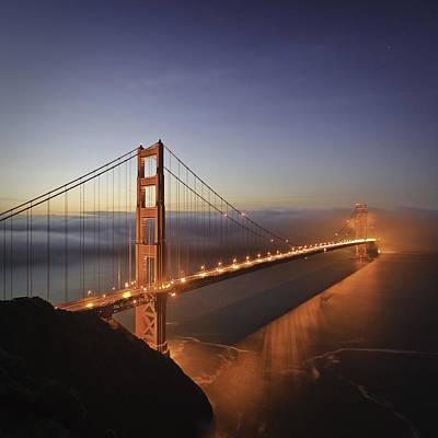 Dawn Over The Golden Gate Art Print